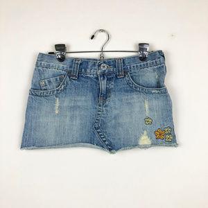 Roxy Skirts - ROXY Mini Denim Skirt with Embroidered Flowers